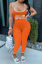 Orange Sexy Polyester Letter Sleeveless Square Neck Tank Jumpsuit AMM8249