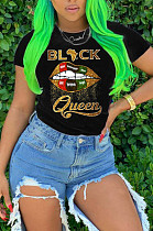 Black Casual Polyester Mouth Graphic Short Sleeve Round Neck Tee Top FH094