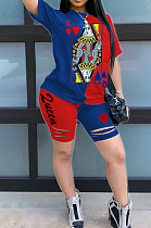 Blue Red Casual Polyester Short Sleeve Round Neck Tee Top Shorts Sets AMM8241