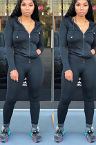Black Casual Polyester Long Sleeve Pure Color Zipper Front Hoodie Long Pants Sets LY5847