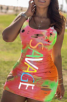 Multicolor Sexy Polyester Letter Sleeveless Round Neck Ripped Low Waist Tank Dress AMM8251
