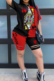 Black Red Casual Polyester Short Sleeve Round Neck Tee Top Shorts Sets AMM8241