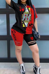 Черный Красный Повседневный Полиэстер с коротким рукавом шею Tee Top шорты комплекты AMM8241