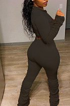 Black Sexy Polyester Pure Color Long Sleeve V Neck Ruffle Crop Top Pants Sets LY5848