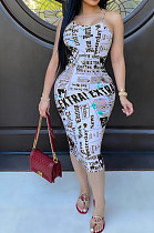 Black Sexy Polyester Letter Sleeveless Backless Mid Waist Slip Dress AA5164