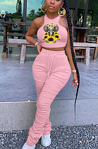 Pink Casual Polyester Animal Graphic Sleeveless Round Neck Ruffle Tank Top Long Pants Sets TY1827