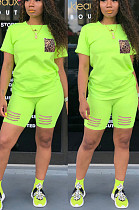 Fluorescent Green Casual Polyester Leopard Short Sleeve Round Neck Tee Top Shorts Sets FH082