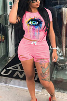 Pink Casual Polyester Short Sleeve Round Neck Ripped Tee Top Shorts Sets MA6575