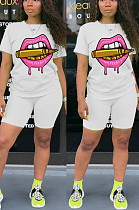 White Casual Polyester Mouth Graphic Short Sleeve Round Neck Tee Top Shorts Sets MA6576