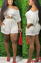 White Casual Polyester Striped Short Sleeve Tee Top Shorts Sets TZ1135
