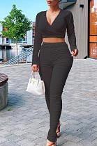 Black Casual Polyester Long Sleeve Deep V Neck Ruffle Crop Top Long Pants Sets LY5849