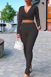 Black Casual Polyester Long Sleeve Deep V Neck Ruffle Crop Top Long Pants Sets LY5849