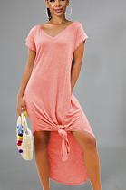 Pink Casual Polyester Short Sleeve V Neck Split Hem Mid Waist Long Dress FH9023