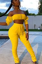 Yellow Casual Cotton Half Sleeve Backless Bandeau Bra Long Pants Sets HH8921