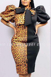 Black Sexy Corduroy Leopard Short Sleeve Stand Collar Shift Dress RNH8053