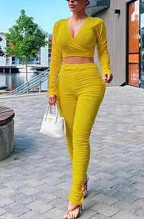 Yellow Casual Polyester Long Sleeve Deep V Neck Ruffle Crop Top Long Pants Sets LY5849