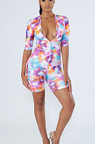 Sexy Polyester Short Sleeve All Over Print Bodycon Jumpsuit FH018