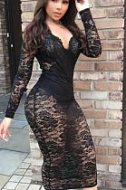 فستان أسود مثير كتان كم طويل V عنق طويل BBN012