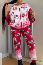 Red Casual Polyester Printed Nine Points Sleeve Hoodie Long Pants Sets YX9221