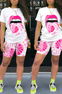 Casual Polyester Mouth Graphic Short Sleeve Round Neck Tee Top Shorts Sets QQM4031