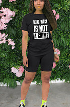 Black Casual Polyester Letter Short Sleeve Round Neck Tee Top Shorts Sets YYF8102
