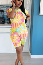 Pink Yellow Casual Polyester Tie Dye Short Sleeve Round Neck Tee Top Shorts Sets YYF8100