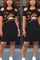 فستان بوليستر أسود كاجوال بأكمام قصيرة ورقبة مستديرة