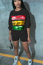 Black Casual Polyester Cartoon Graphic Long Sleeve Round Neck Tee Top Shorts Sets W8301