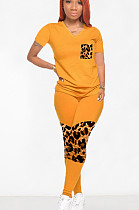 Yellow Casual Polyester Leopard Short Sleeve V Neck Spliced Tee Top Long Pants Sets OMY8068