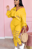 Yellow Casual Polyester Long Sleeve Ripped Utility Blouse Long Pants Sets AMM8253