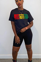 Black And Red Printing Casual Polyester Letter Short Sleeve Round Neck Tee Top Shorts Sets LD8752