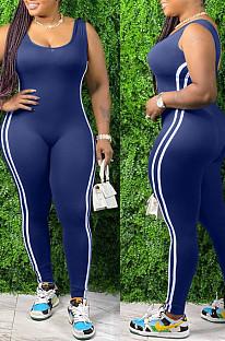 Pure Color Casual Viscose Striped Sleeveless Bodycon Jumpsuit QZ6101