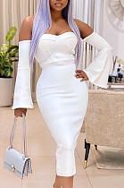 Белое элегантное платье из ацетата с открытыми плечами ORY5164