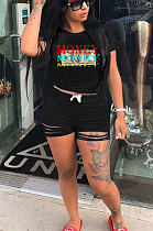 Black Casual Polyester Letter Short Sleeve Round Neck Tee Top Shorts Sets AMM8252