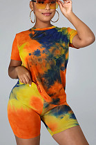 Orange Casual Polyester Tie Dye Short Sleeve Round Neck Tee Top Shorts Sets CCY8582