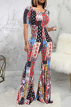 Multi Casual Polyester Short Sleeve Round Neck Bodycon Jumpsuit SMR9635