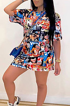 Casual Polyester Graffiti Short Sleeve Round Neck Shift Dress TRS1055