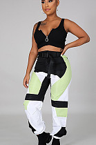 Black Casual Polyester Geometric Graphic Spliced Cargo Pants CCY8515