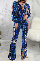 Multi Sexy Polyester Langarm Deep V Neck All Over Print Bodycon Jumpsuit SMR9634