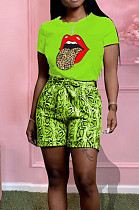 Casual Cotton Tongue Graphic Snakeskin Short Sleeve Round Neck Tee Top Shorts Sets X9241