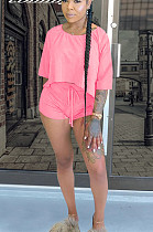 Pink Casual Polyester Half Sleeve Round Neck Tee Top Shorts Sets QQM4059