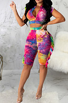 Multi Casual Polyester Short Sleeve Stand Collar Flounce Crop Top Shorts Sets SMR9629