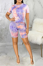 Casual Polyester Short Sleeve Round Neck All Over Print Tee Top Shorts Sets SMR9648