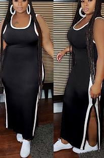 Dark Blue Casual Polyester Sleeveless Round Neck Split Hem Mid Waist Long Dress GL6282