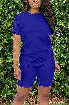 Casual Acetate Pure Color Short Sleeve Round Neck T-Shirt Tee Top Shorts Sets X9171