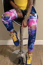 Dark Blue Rose Red Casual Polyester Tie Dye Ripped High Waist Long Pants SN3844