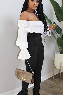 White Sexy Polyester Long Sleeve Utility Blouse SN3838