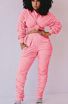 ピンクのカジュアルポリエステル長袖ラウンドネックフリルティートップロングパンツセットQQM4077