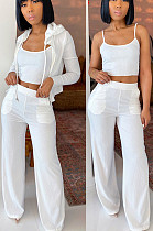 White Casual Polyester Sleeveless Hoodie Long Pants Sets SN3824