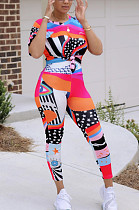 Casual Polyester Short Sleeve Round Neck All Over Print Tee Top Capris Pants Sets KF194